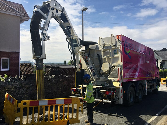 our pink vacuum excavator raising money for UK cancer charities
