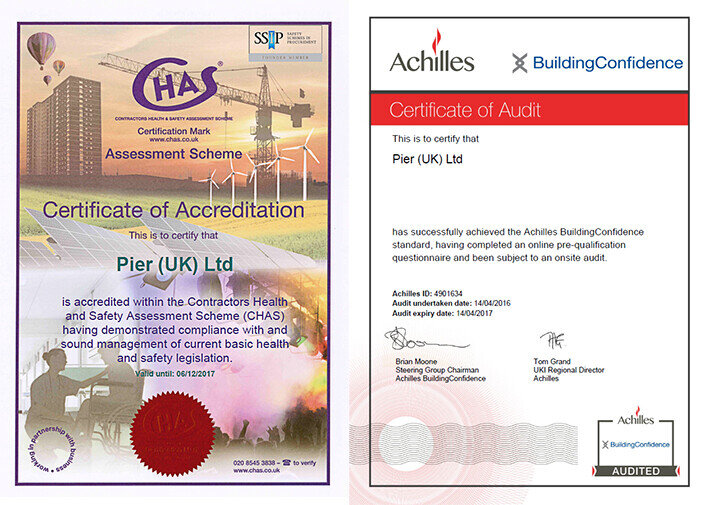 PIER (UK) Renew 2 Key Health & Safety Accreditations For 2017