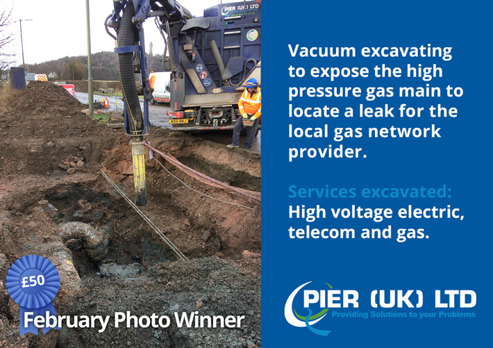 Photo of the month using vacuum excavation to find a gas leak